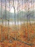 Paisaje de la acuarela Una tarde reservada en el bosque del otoño Foto de archivo libre de regalías