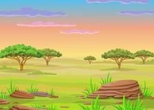 Paisaje de la animación de la sabana africana Imagenes de archivo