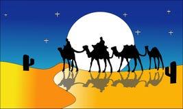 Paisaje de la animación: desierto, caravana de camellos Ilustración del vector - Un ejemplo caliente del paisaje del desierto - v libre illustration