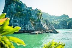 Paisaje de la bahía de Halong de la piedra caliza Fotografía de archivo