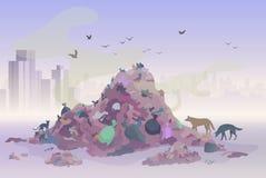 Paisaje de la basura del vertido que huele con los rascacielos de la ciudad en el fondo Vector del concepto del ambiente de la co imagen de archivo