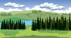 Paisaje de la belleza con el bosque y la montaña Imagenes de archivo