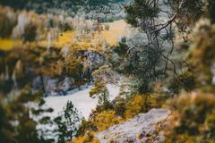 Paisaje de la caída en las montañas de Altai cerca del río de Katun Fotos de archivo libres de regalías
