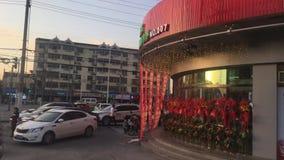 Paisaje de la calle de la ciudad del fangtai, distrito de Jiading, Shangai almacen de video