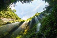 Paisaje de la cascada en bosque verde con el spr de la luz y del agua del día Fotos de archivo libres de regalías