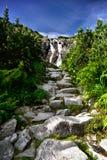 Paisaje de la cascada Siklawa en Tatras Foto de archivo libre de regalías