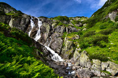 Paisaje de la cascada Siklawa en Tatras Foto de archivo