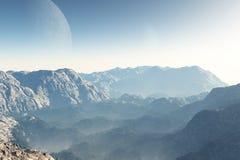 Paisaje de la ciencia ficción en el amanecer libre illustration