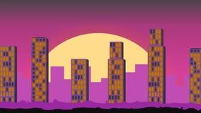 Paisaje de la ciudad Amanecer en la ciudad de la noche animación