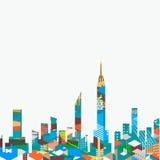 Paisaje de la ciudad con el aislante gráfico geométrico colorido en el fondo, vector
