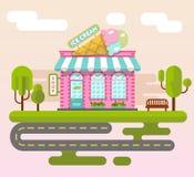 Paisaje de la ciudad con la tienda de helado Fotos de archivo libres de regalías
