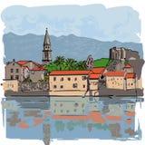 Paisaje de la ciudad con las casas en orilla Las fachadas de edificios se reflejan Ilustración del vector ilustración del vector
