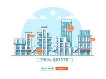 Paisaje de la ciudad Concepto de las propiedades inmobiliarias y del negocio de construcción con las casas línea estilo Ilustraci Imagenes de archivo