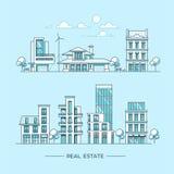 Paisaje de la ciudad Concepto de las propiedades inmobiliarias y del negocio de construcción con las casas línea estilo Ilustraci Imagen de archivo