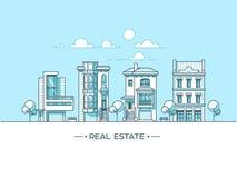 Paisaje de la ciudad Concepto de las propiedades inmobiliarias y del negocio de construcción con las casas línea estilo Ilustraci Foto de archivo libre de regalías