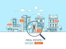 Paisaje de la ciudad Concepto de las propiedades inmobiliarias y del negocio de construcción con las casas línea estilo Ilustraci Fotografía de archivo