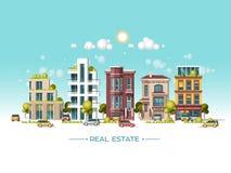 Paisaje de la ciudad Concepto de las propiedades inmobiliarias y del negocio de construcción Ejemplo plano del vector estilo 3d Fotografía de archivo libre de regalías