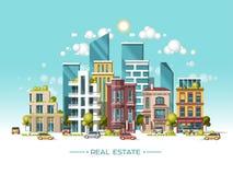 Paisaje de la ciudad Concepto de las propiedades inmobiliarias y del negocio de construcción Ejemplo plano del vector estilo 3d Imágenes de archivo libres de regalías
