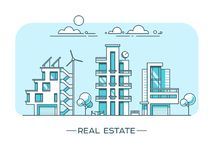 Paisaje de la ciudad Concepto de las propiedades inmobiliarias y del negocio de construcción con las casas Imágenes de archivo libres de regalías