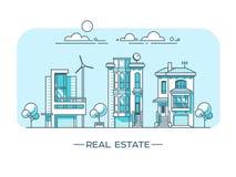 Paisaje de la ciudad Concepto de las propiedades inmobiliarias y del negocio de construcción con las casas Fotografía de archivo