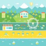 Paisaje de la ciudad de vacaciones Montañas, casas, árboles, café, playa, océano Concepto del turismo y de la reconstrucción Fotografía de archivo libre de regalías