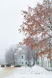 Paisaje de la ciudad del invierno Imágenes de archivo libres de regalías