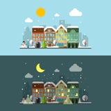 Paisaje de la ciudad del invierno del vector adentro día y noche Imagenes de archivo