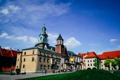 Paisaje de la ciudad Edificios Wawel, Kraków, Polonia Fotos de archivo libres de regalías