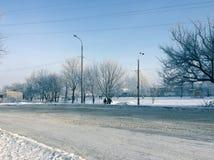 Paisaje de la ciudad en helada del invierno Fotografía de archivo libre de regalías