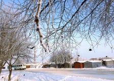 Paisaje de la ciudad en helada del invierno Imagenes de archivo