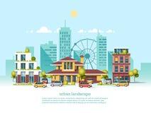 Paisaje de la ciudad Estilo moderno de la arquitectura 3d Arquitectura moderna, noria, coches, rascacielos Imagen de archivo libre de regalías
