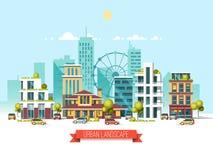 Paisaje de la ciudad Estilo moderno de la arquitectura 3d Arquitectura moderna, noria, coches, rascacielos Imagenes de archivo
