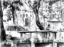 Paisaje de la ciudad Hecho por la tinta en el papel Fotos de archivo