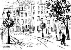 Paisaje de la ciudad Hecho por la tinta en el papel Foto de archivo libre de regalías
