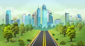 Paisaje de la ciudad y de la naturaleza ilustración del vector