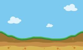 Paisaje de la colina de la silueta para los fondos del juego stock de ilustración