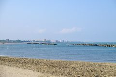 Paisaje de la costa adriática de Oporto Garibaldi foto de archivo