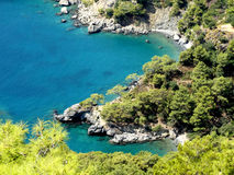 Paisaje de la costa costa del pavo del mar Mediterráneo Imagen de archivo libre de regalías