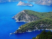 Paisaje de la costa costa del pavo del mar Mediterráneo Foto de archivo libre de regalías