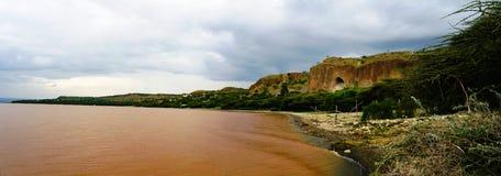 Paisaje de la costa costa del lago Langano, Oromia, Etiopía imágenes de archivo libres de regalías