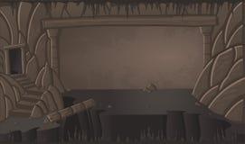Paisaje de la cueva de la historieta Escena de la naturaleza stock de ilustración