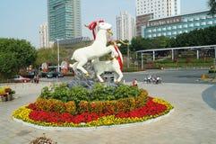 Paisaje de la escultura de las ovejas Foto de archivo