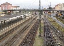 Paisaje de la estación de ferrocarril del alto ángulo foto de archivo