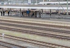 Paisaje de la estación de ferrocarril del alto ángulo fotos de archivo