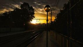 Paisaje de la estación de tren fotografía de archivo libre de regalías