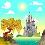 Paisaje de la fantasía con el castillo. ilustración del vector
