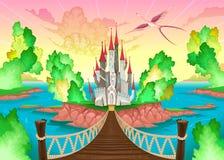 Paisaje de la fantasía con el castillo stock de ilustración