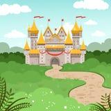 Paisaje de la fantasía con el castillo del cuento de hadas Ejemplo del vector en estilo de la historieta Foto de archivo libre de regalías