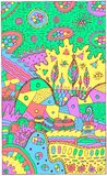 Paisaje de la fantasía con las casas y los árboles surrealistas Ilustraciones multicoloras fantásticas psicodélicas Ilustración d ilustración del vector