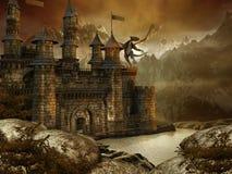 Paisaje de la fantasía con un castillo stock de ilustración